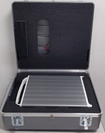 A photo of a Transfer Appliance inside an opened shipping                 case