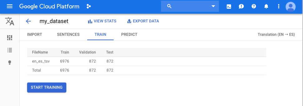 Pestaña Entrenar (Train) para el conjunto de datos my_dataset