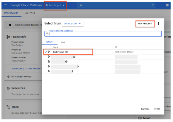 New Project dialog in Google Cloud Console.