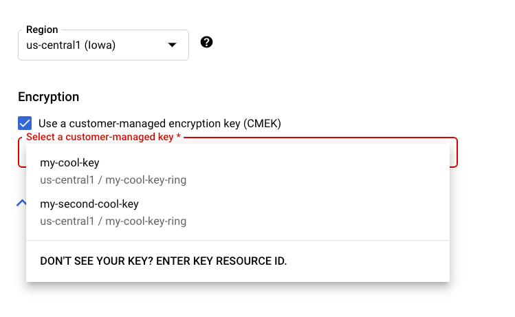 Select encryption key for resource section