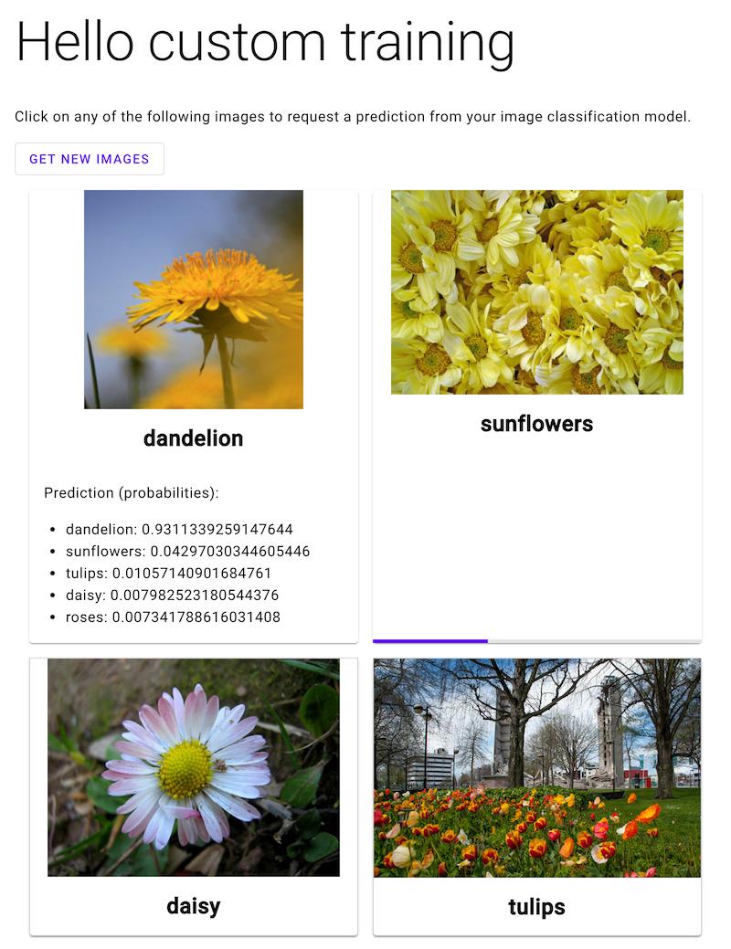 Aplicación web con cuatro imágenes etiquetadas de flores. Una tiene probabilidades de etiquetas de predicción debajo. Otra tiene una barra de carga debajo.