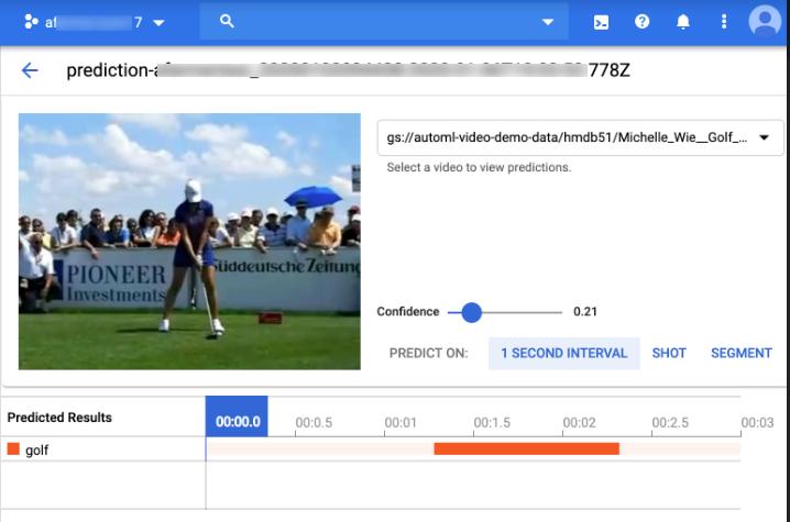 Résultats de la prédiction AutoML VideoIntelligence