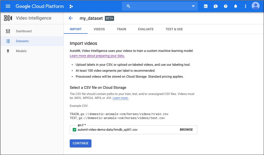 'my_dataset'라는 데이터세트 페이지