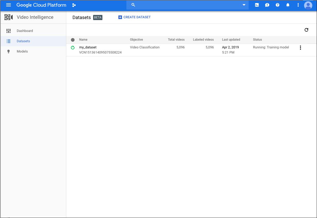 "Google Cloud Console 中的""数据集""页面"
