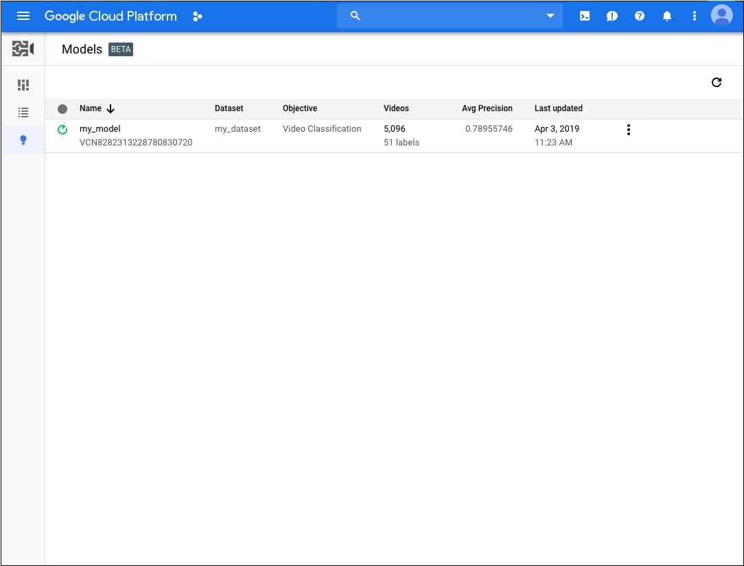 Liste des modèles AutoML VideoIntelligence personnalisés dans la console Cloud