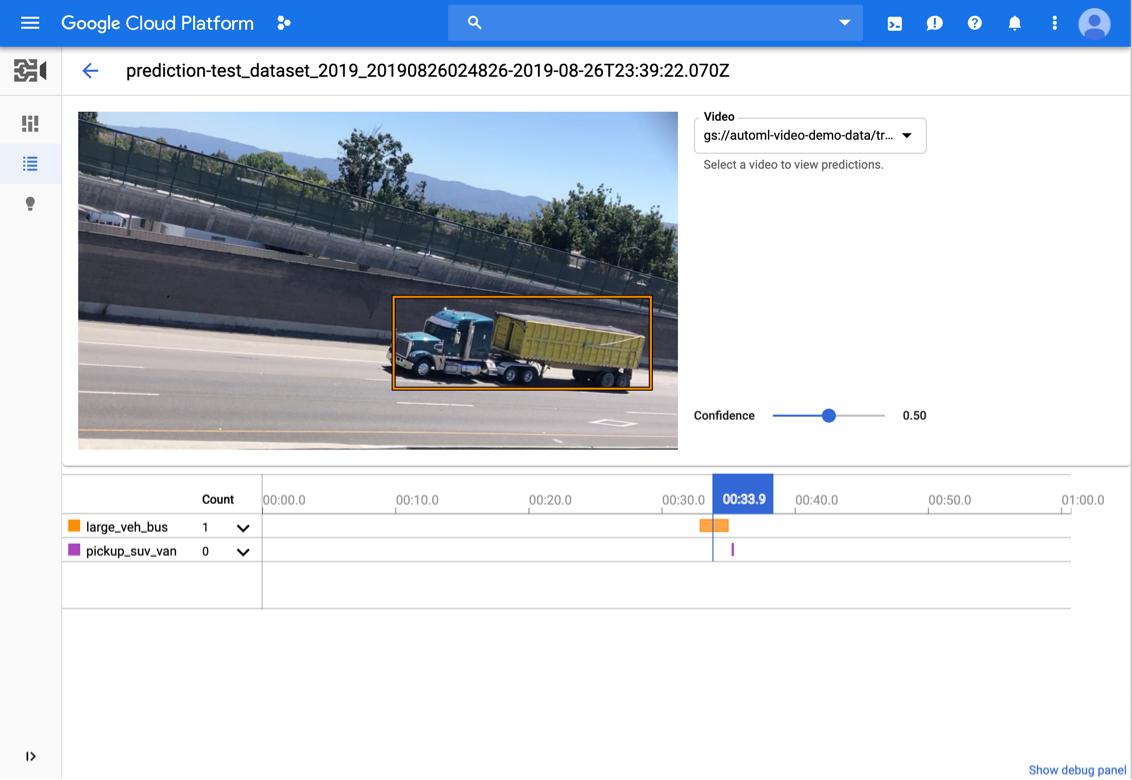 AutoML Video Intelligence 预测的结果