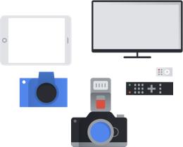 Grafik verschiedener Arten von Unterhaltungselektronik