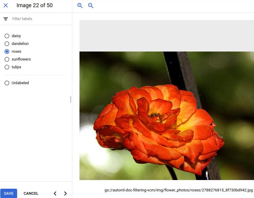 écran permettant d'ajouter ou de modifier une étiquette associée à une image