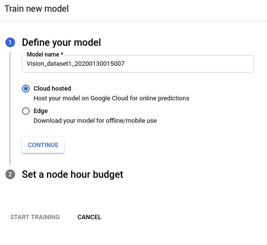 Imagem do botão de opção para treinar o modelo do Cloud