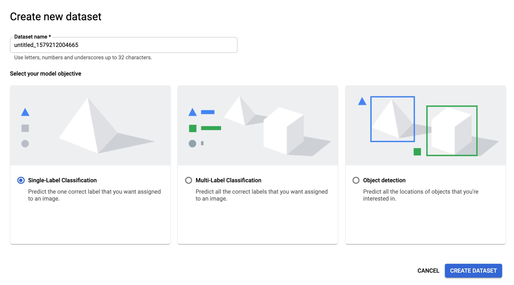 Seite zum Auswählen des Modelltyps für das Dataset