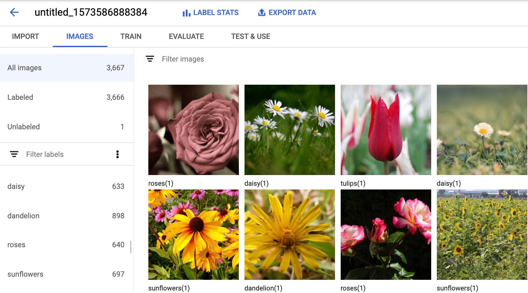 UI für Trainingsbilder mit Labels