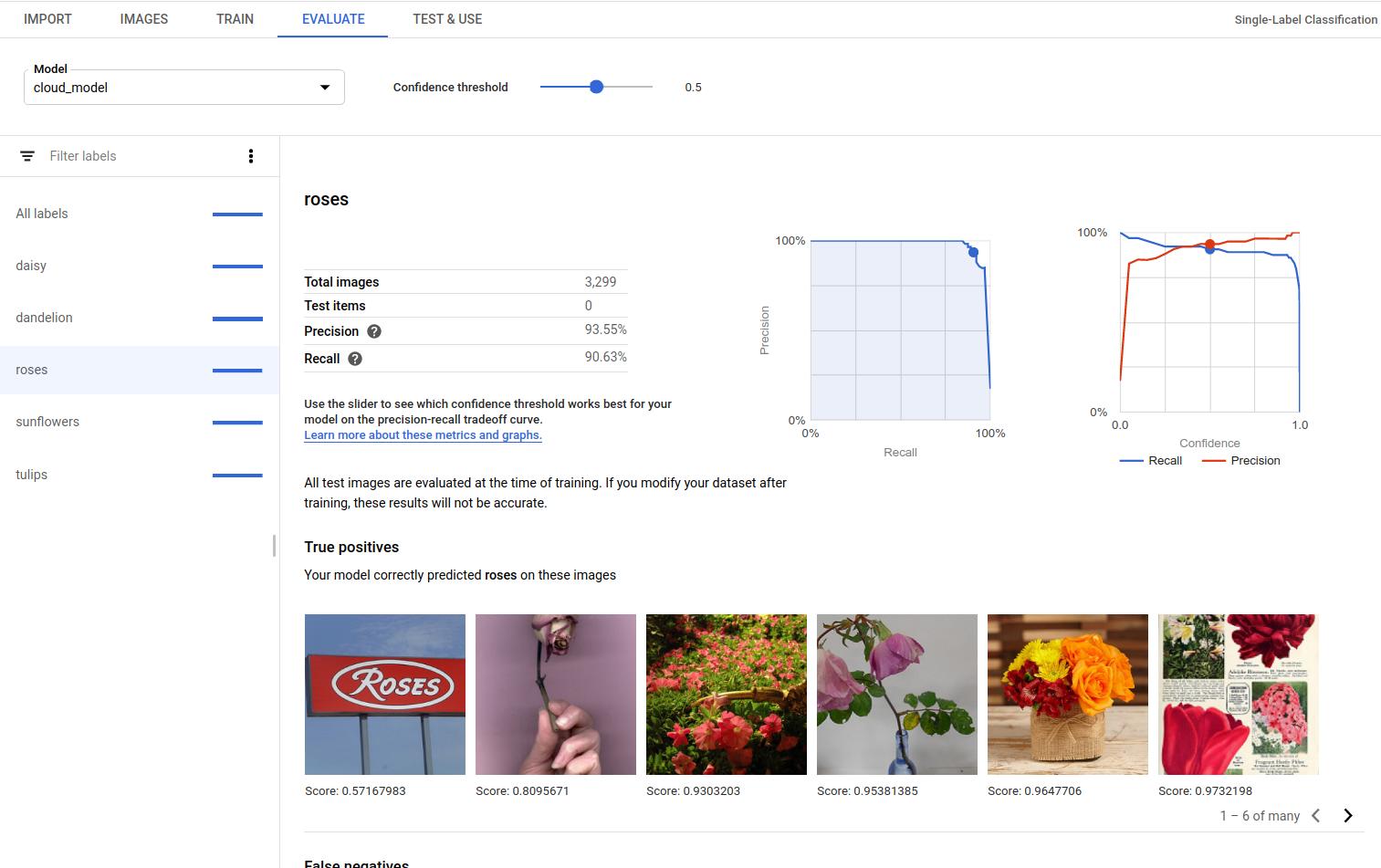 模型评估页面专属标签