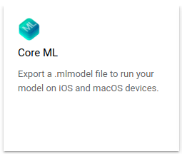 Option zum Exportieren des Core ML-Modells