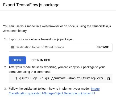 Option d'exportation Tensorflow.js