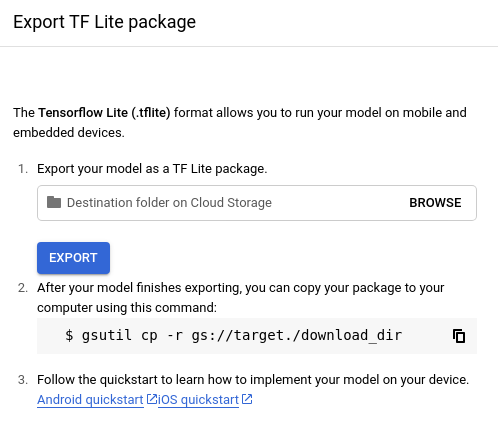 Aktualisierte Option zum Exportieren des TF Lite-Modells