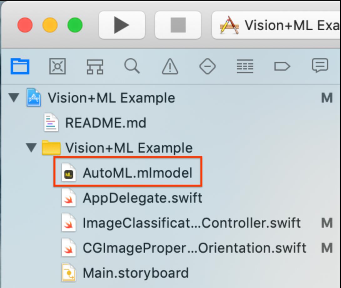 Imagen de arrastrar el modelo personalizado a Xcode