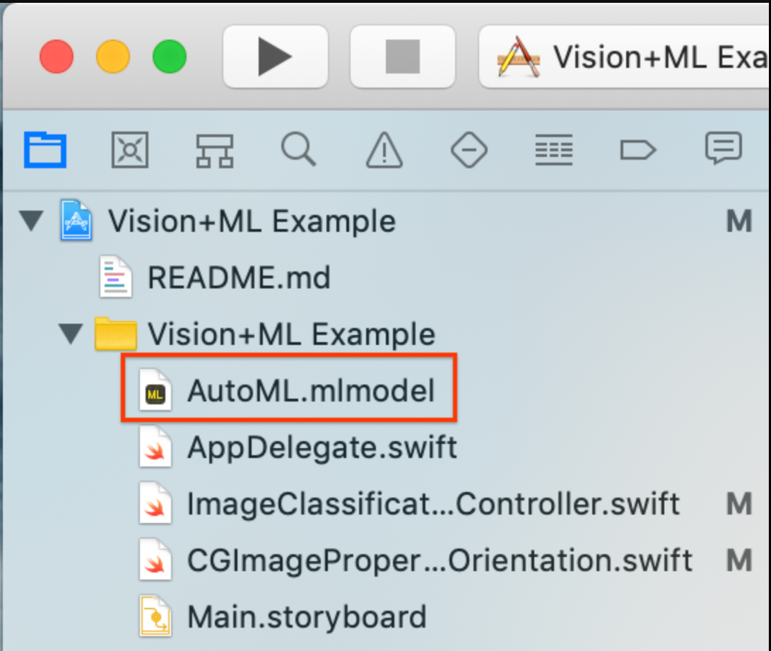 image représentant le glisser-déposer du modèle personnalisé dans Xcode