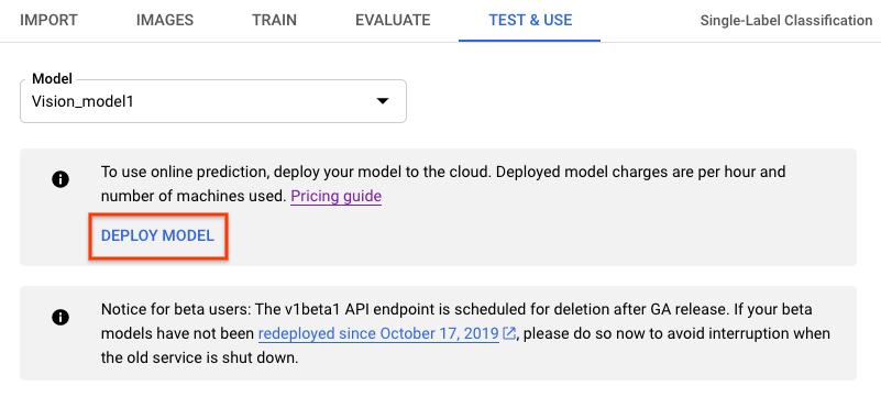 Página Test & Use (Prueba y uso) del modelo