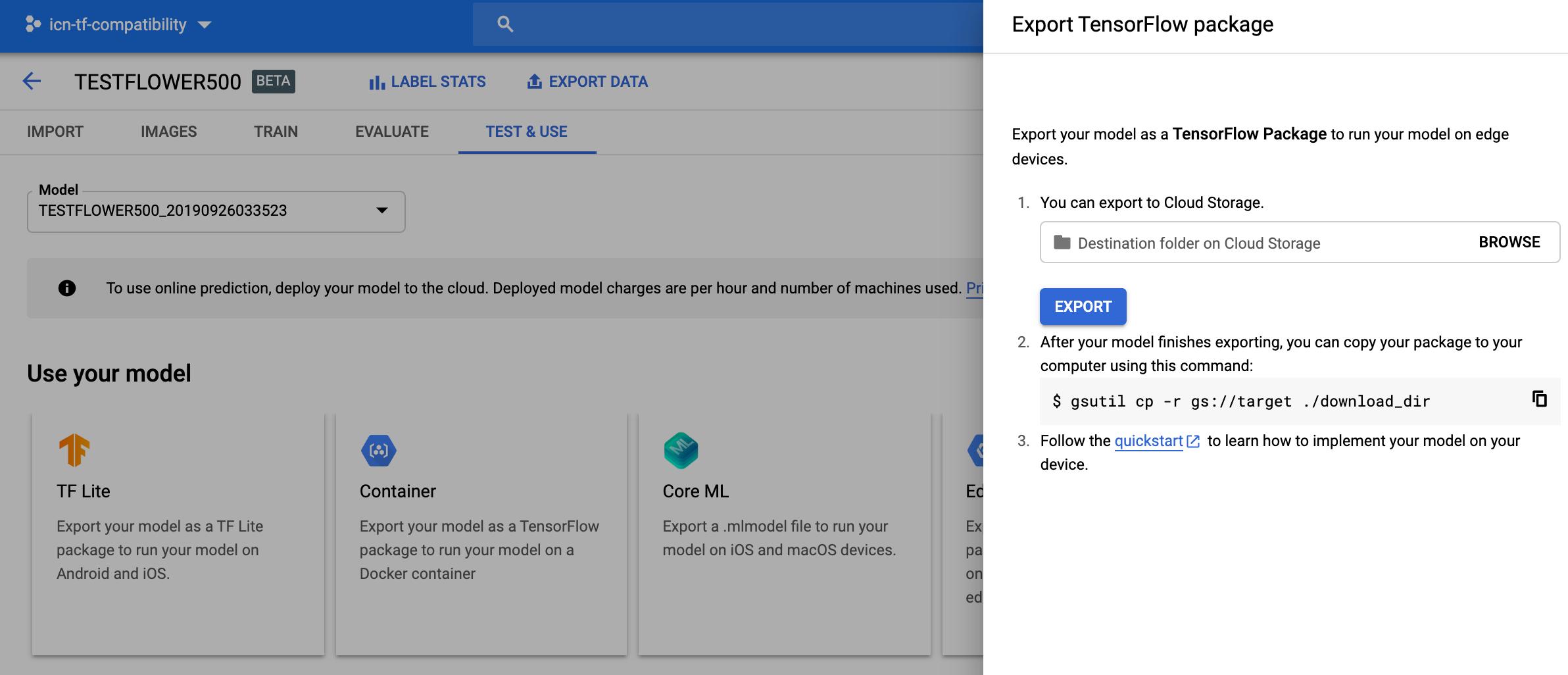 updated export container model screenshot