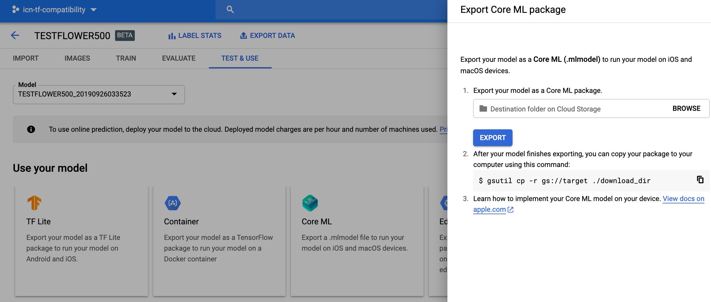 updated export Core ML model screenshot