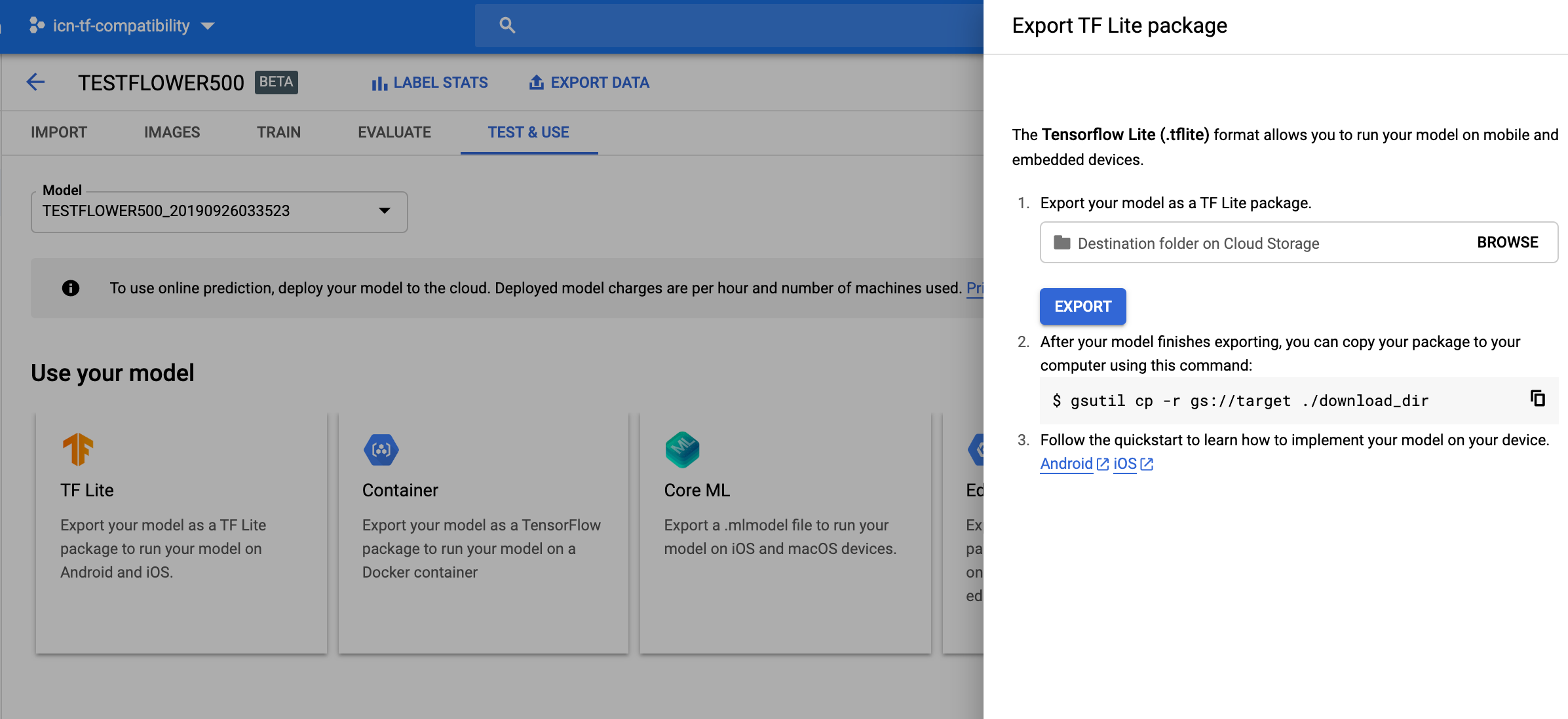 updated Export TF Lite model image