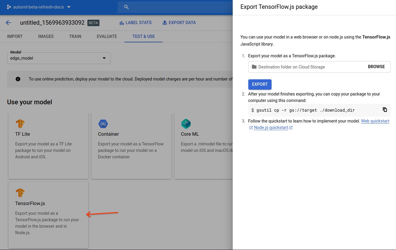 captura de tela atualizada do modelo TensorFlow.js de exportação