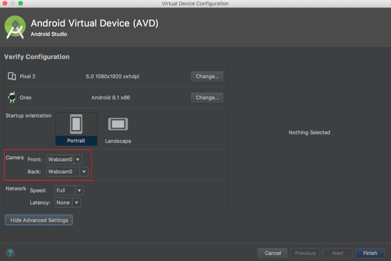 Android Studio choose camera source option