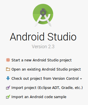 Janela pop-up Abrir projeto do Android Studio