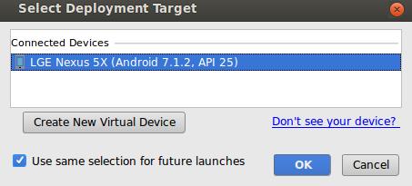 janela pop-up de seleção do dispositivo