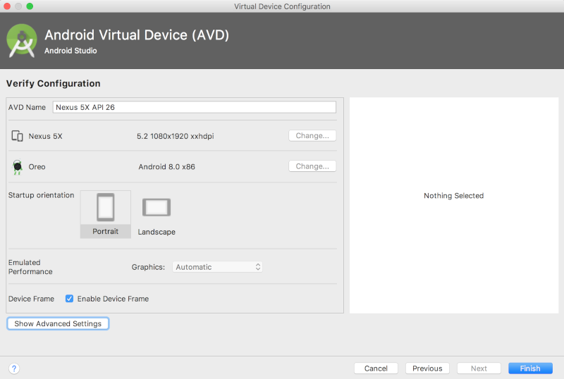 Android 스튜디오 가상 기기 만들기 옵션