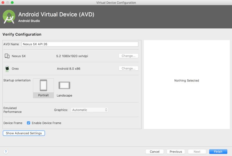 O Android Studio cria uma opção de dispositivo virtual