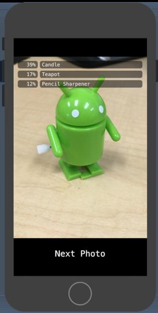 Captura de tela do app na execução do teste