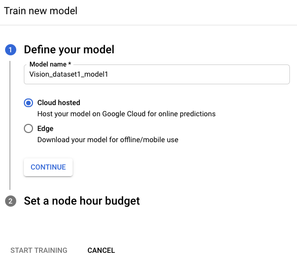 Modellabschnitt für das Training definieren