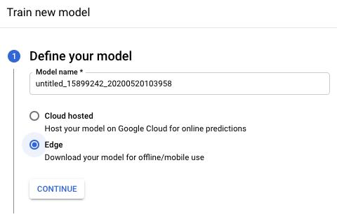 Screenshot: Abschnitt zum Definieren des Modells für das Training