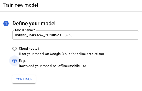 define your model section for training