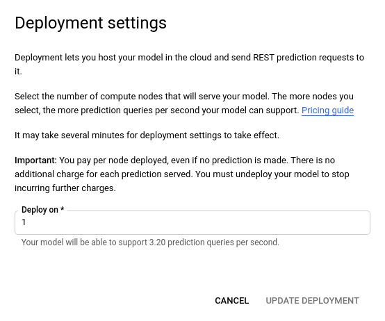 image of update deployment popup window