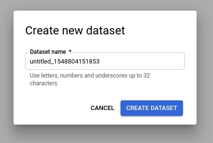 データセットの新規データセット名ウィンドウの作成