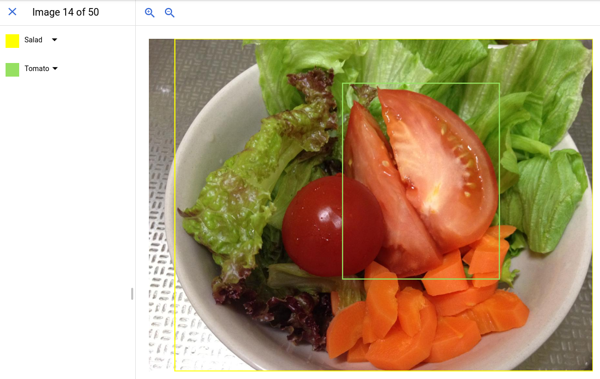 ラベルとボックスを含む単一画像の UI