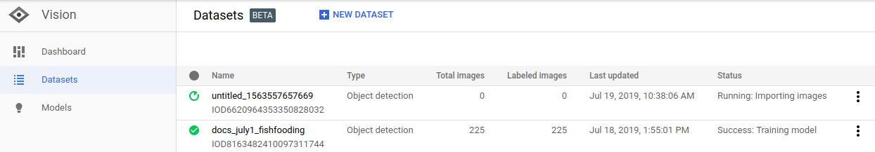 Listing a dataset page