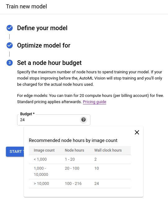 setting the node budget section