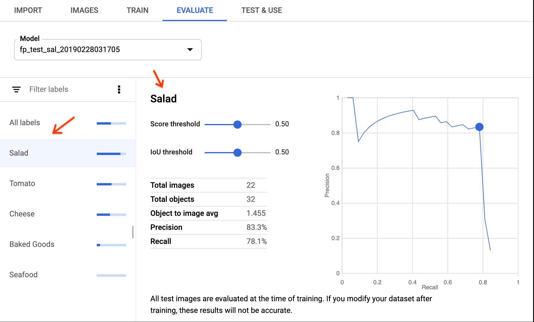 モデル評価ページ固有のラベル