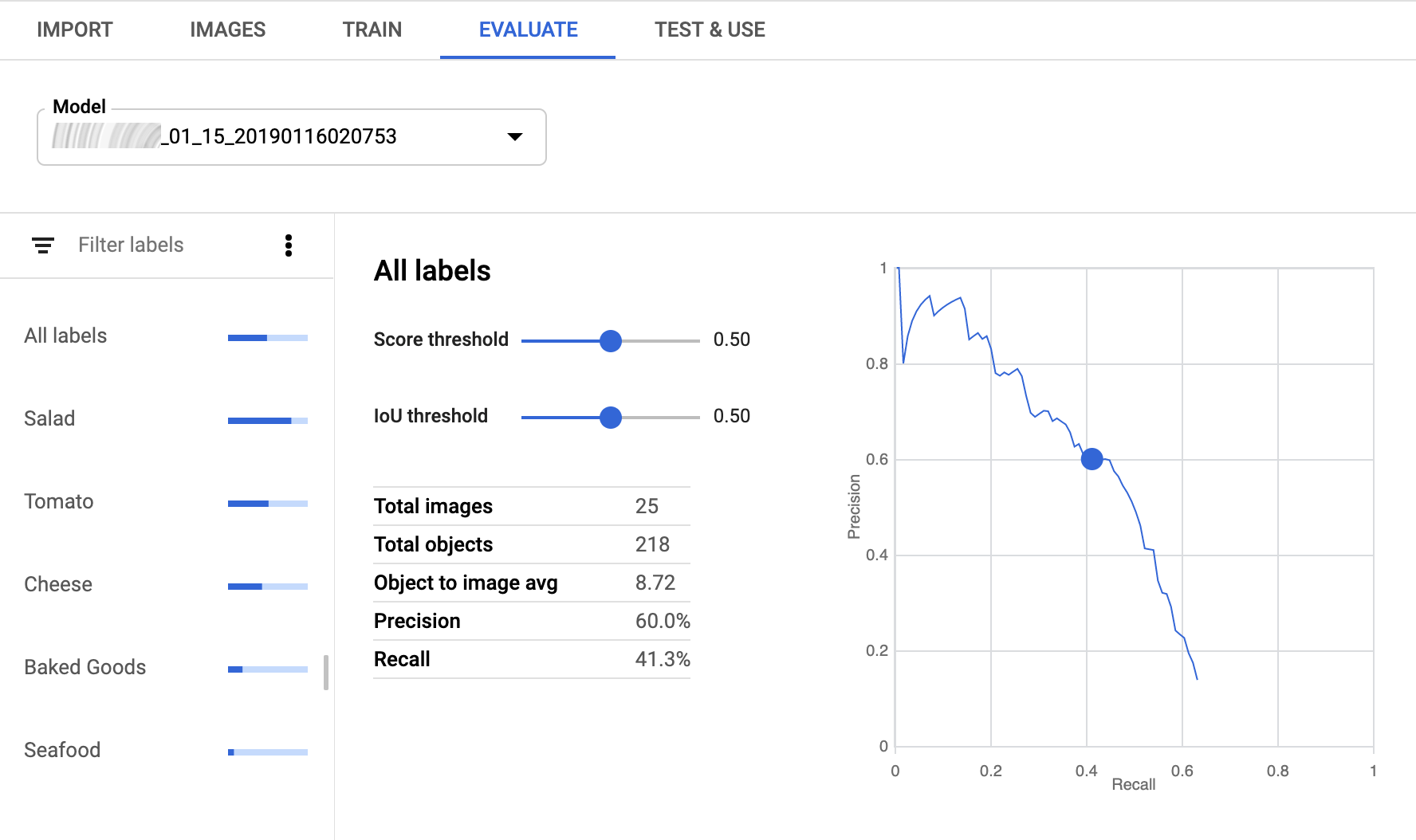 Screenshot: Seite für Modellbewertung