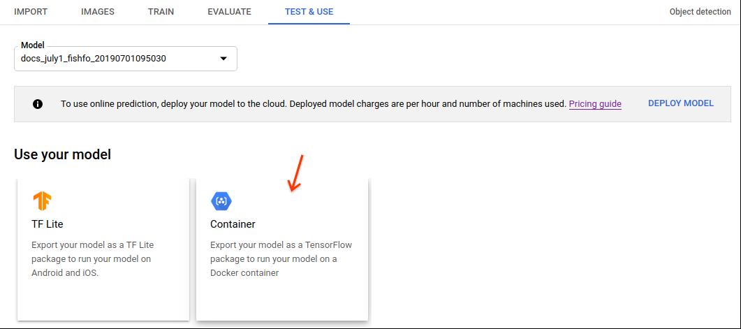 [TF Lite モデルをエクスポート] オプションの画像