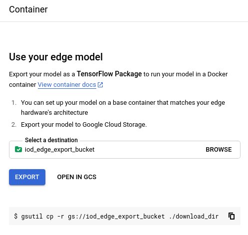 Choose a storage location for exported model image