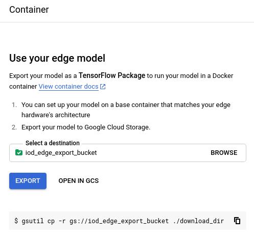 Imagen en la que se muestra la opción de elegir una ubicación de almacenamiento para el modelo exportado