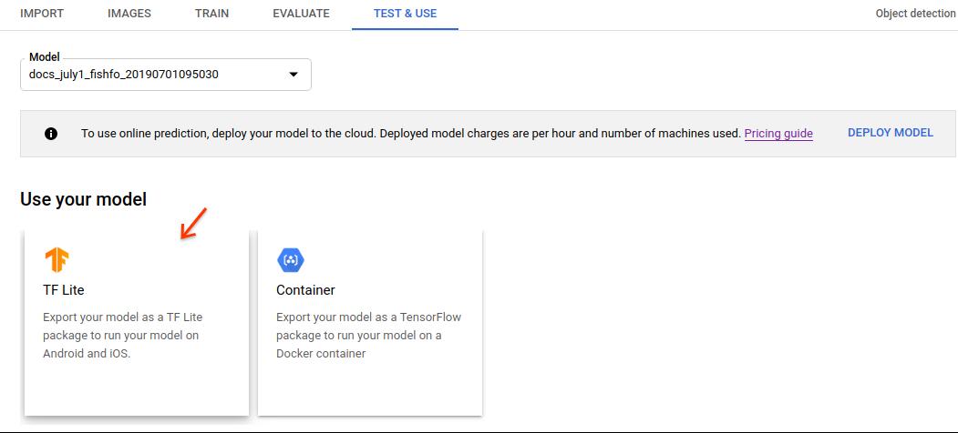Imagen de la opción de exportar modelo de TFLite