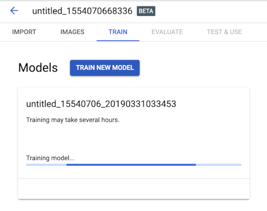 Start model training page