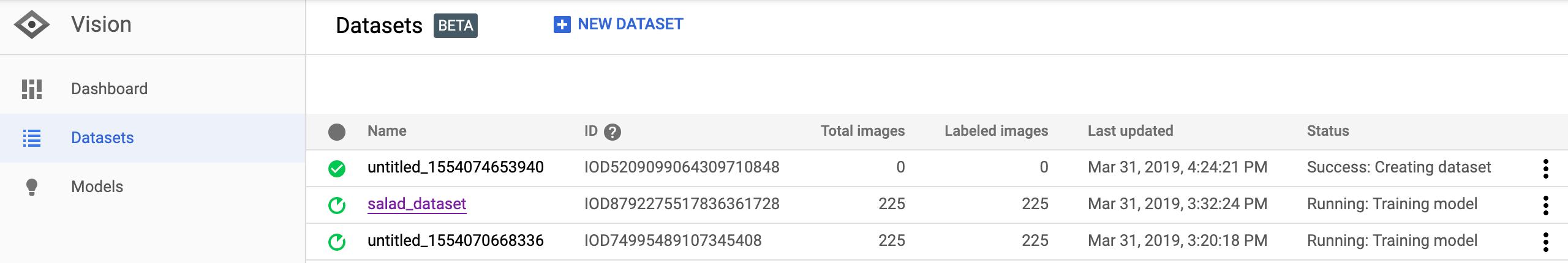 데이터 세트 이미지 나열