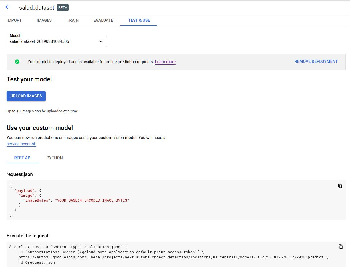 Página de modelos Probar y usar (Test & Use)
