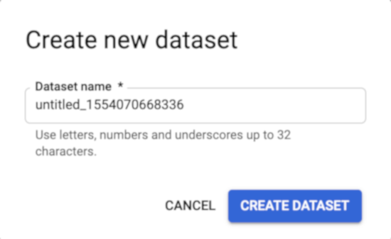 Select create new dataset's name